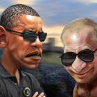 Obama vs. Putin Illustration