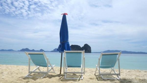 Thailand Beach Chairs and Ocean